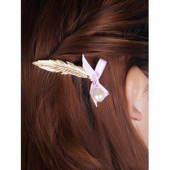Buy Stunning Faux Pearl Feather Bowknot Hairpin GOLDEN