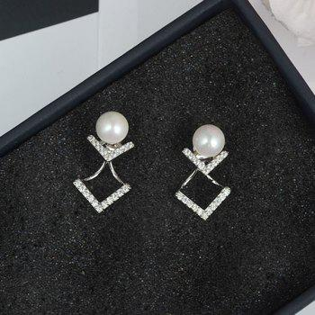 Pair of Faux Pearl Rhinestone V Shape Earrings