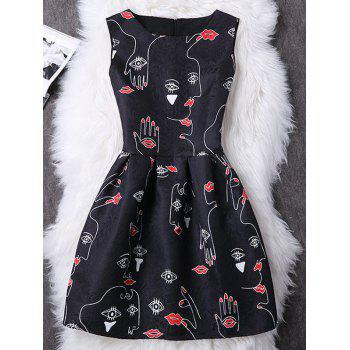Charming Sleeveless Lip Print Slimming Women's Dress