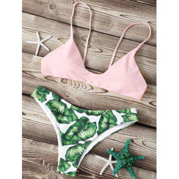 Refreshing Spaghetti Strap Leaf Print Women's Bikini Set