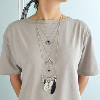 Multilayered Matchstick Eye Wings Faux Feather Beads Necklace