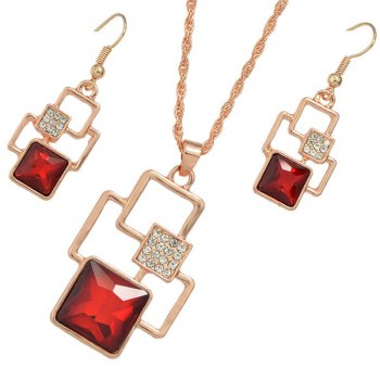 Square Rhinestone Cut Out Pendant Necklace Set - RED