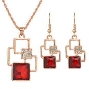 Square Rhinestone Cut Out Pendant Necklace Set