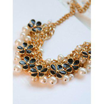 Faux Pearl Blossom Wedding Jewelry Necklace - BLACK