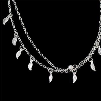 Micro Leaf Multilayered Charm Anklet -  SILVER