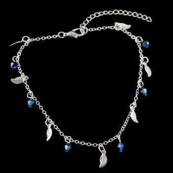 Geometric Beads Leaf Charm Anklet - SILVER SILVER