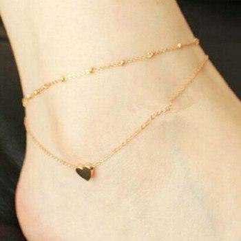Heart Gold Plated Layered Charm Anklet