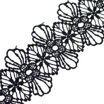 Cut Out Crochet Floral Lace Bracelet - BLACK