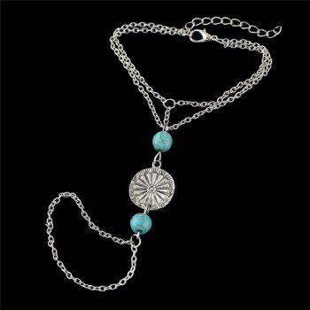Vintage Silver Plated Medallion Faux Turquoise Bead Bracelet with Ring For Women - SILVER