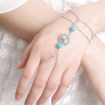 Vintage Silver Plated Medallion Faux Turquoise Bead Bracelet with Ring For Women