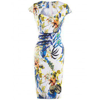 Fashionable Floral Print Skinny Slimming Women's Dress