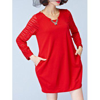 Chic Lace Splicing Hollow Out Pocket Design Women's Dress