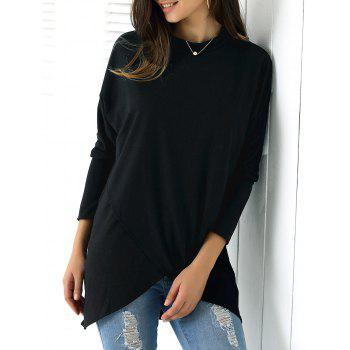 Casual Pure Black Asymmetric Long Sleeve Tee