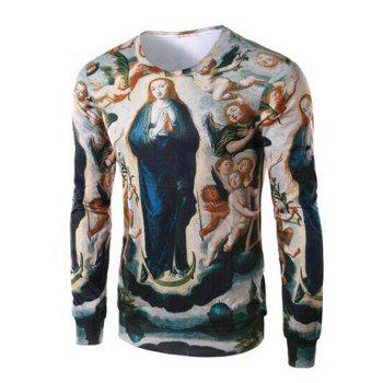 Round Collar Long Sleeve Ave Maria Print Tee For Men
