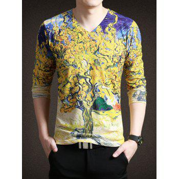 Trendy Painting Print V-Neck Long Sleeves Tee For Men