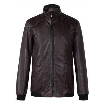 Brief Stand Collar Long Sleeves Pure Color Leather Jacket For Men