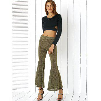 Alluring Elastic Waist Sheeny Slimming Women's Pants - GOLDEN 2XL