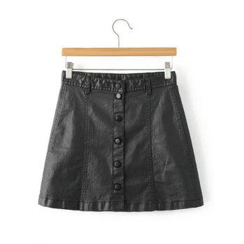Stylish Black Faux Lether Front Button Up Short Skirt