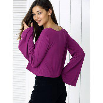 Manches Flare Casual Loose-Fit Crop Top - Pourpre M