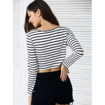 Slim Fit à manches longues rayé Crop Top - Rayure XL