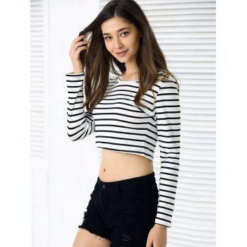 Slim Fit Long Sleeve Striped Crop Top - STRIPE XL