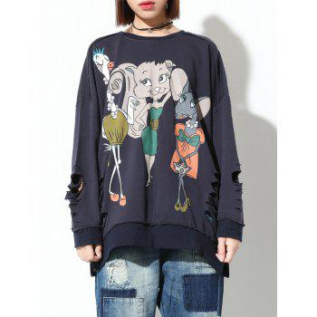 Ripped Cartoon Print Loose Sweatshirt