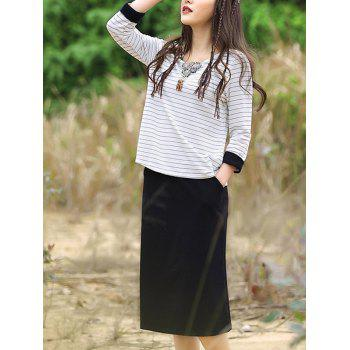 Casual Striped T-Shirt + Black Pocket Design Skirt Women's Twinset
