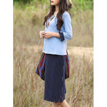 Chic Splicing T-Shirt + Striped Skirt Women's Twinset