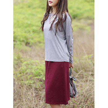 Chic Cut Out Spliced T-Shirt + Solid Color Pocket Design Skirt Women's Twinset - GRAY GRAY