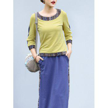 Ethnic Style Spliced T-Shirt + Geometric Pattern Pocket Design Skirt Women's Twinset - YELLOW L