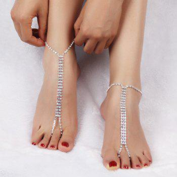 Hollow Out Layered Rhinestone Anklets - SILVER