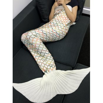 Chic Quality Yarn Knitted Colorful Rhombus Design Warmth Mermaid Tail Blanket - WHITE