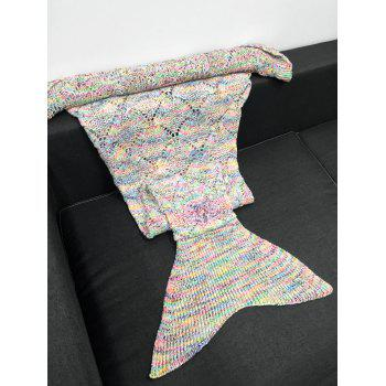 Chic Quality Crochet Knitting Hollow Out Rhombus Design Mermaid Tail Blanket - COLORMIX