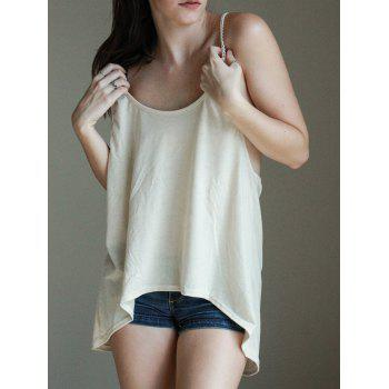 Stylish Lace Splicing Backless Scoop Neck Loose Tank Top For Women