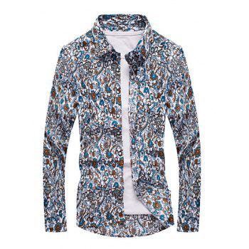 Plus Size Paisley Print Turn-Down Collar Long Sleeve Men's Shirt
