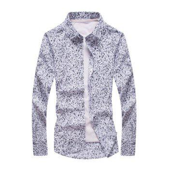 Plus Size Tiny Floral Print Turn-Down Collar Long Sleeve Men's Shirt