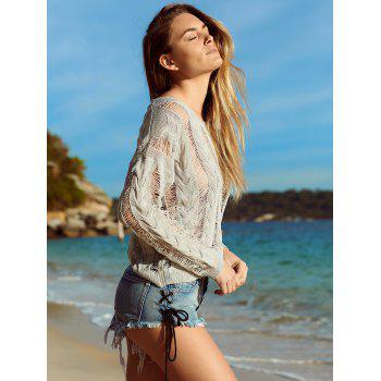 Long Sleeve Knitted Crochet See Through   Cover-Up - GRAY XL