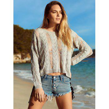 Long Sleeve Knitted Crochet See Through   Cover-Up