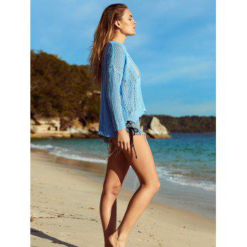 Alluring V Neck Hollow Out Crochet Cover-Up - AZURE S