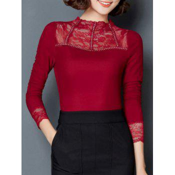 Trendy Solid Color Lace Spliced Slim Blouse
