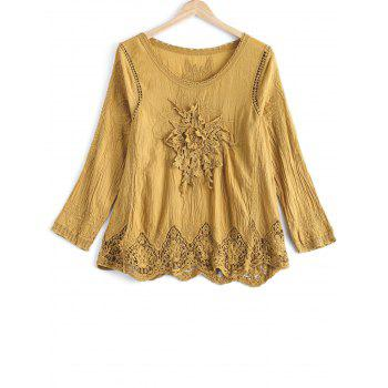 Chic Lace Crochet Trim Floral Spliced Scalloped Blouse