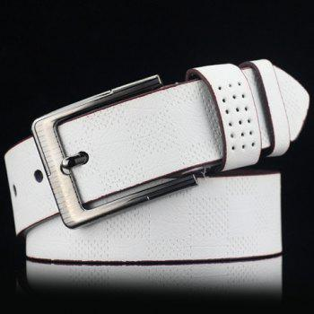 Élégant ardillon Plaid Embossed Men  's PU large ceinture