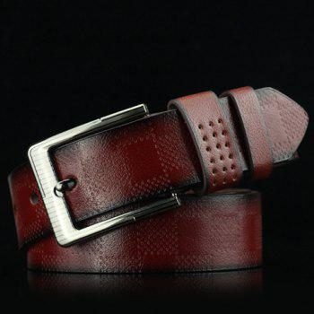 Stylish Pin Buckle Plaid Embossed Men's PU Wide Belt