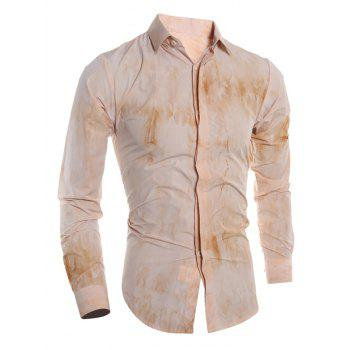 Tie Dye Turn-down Collar Men's Long Sleeve Shirt