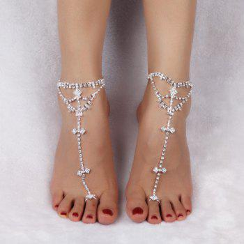 Pair of Rhinestone Embellished Cross Anklets -  SILVER