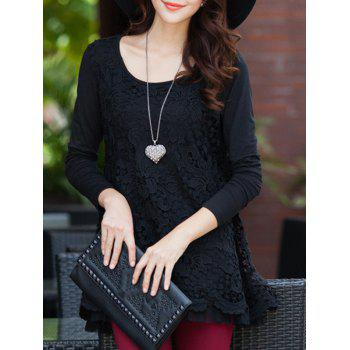 Charming Scoop Neck Lace Spliced Hollow Out Women's Blouse - BLACK 3XL