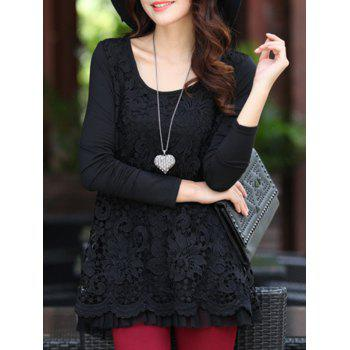 Charming Scoop Neck Lace Spliced Hollow Out Women's Blouse - BLACK BLACK