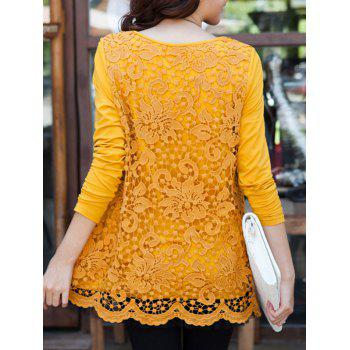 Charming Scoop Neck Lace Spliced Hollow Out Women's Blouse - GINGER GINGER