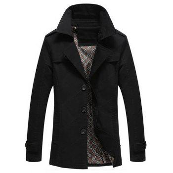Turn-Down Collar Epaulet Design Single Breasted Long Sleeve Men's Coat