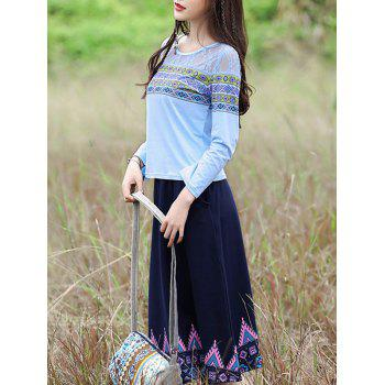 Ethnic Style Geometric Pattern T-Shirt + Pocket Design Skirt Women's Twinset